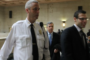 Gary Parker (middle) being escorted into courtroom on Monday.