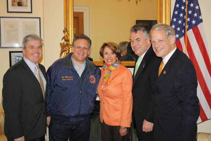 Suffolk County Executive Steve Bellone and Nassau County Executive Ed Mangano, left, who went to Washington D.C. Tuesday to lobby for Sandy aid, meet with House Democratic Leader Nancy Pelosi, Reps. Peter King and Steve Israel.