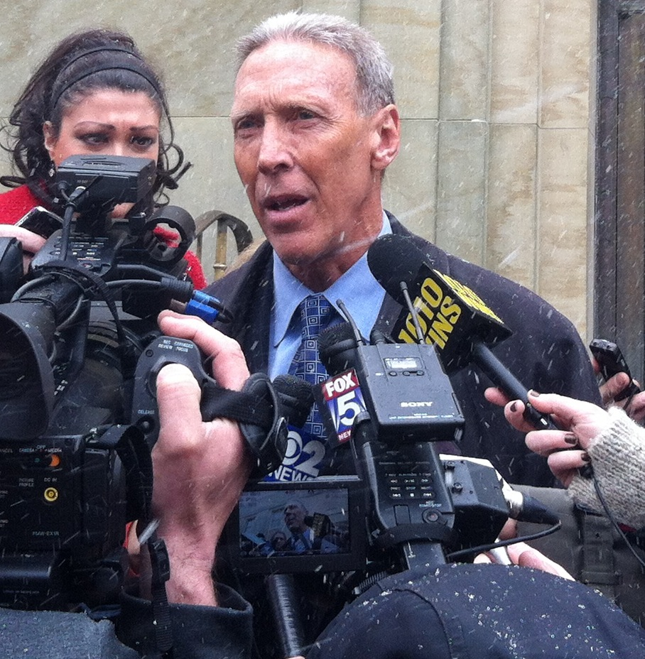 Brian Davis, the attorney for Raymond Roth, speaks to reporters outside Nassau COunty court on March 21, 2013.