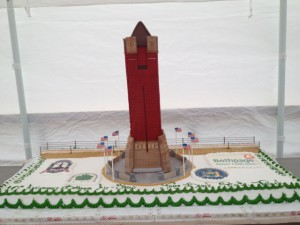 Parks officials baked a cake in the shape of the Jones Beach Water Tower to mark the 10th anniversary of the air show.