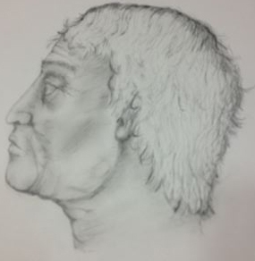 Researchers rendered this drawing of what the ancient Greek warrior looked like based on his skull.