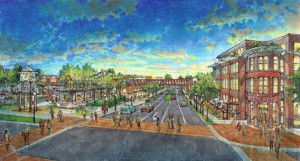 An artists rendering of a downtown Long Island affordable housing development that planner hope will attract young people.