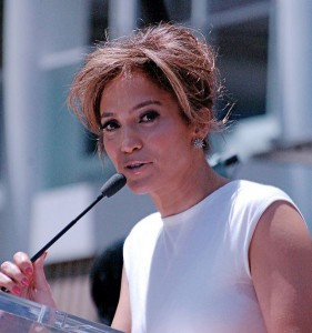 Jennifer Lopez at a ceremony to receive a star on the Hollywood Walk of Fame last month (Photo by Angela George).