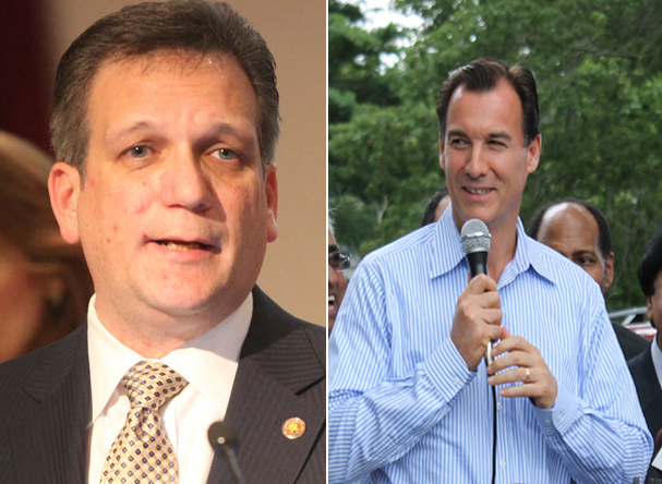 Nassau County Executive Ed Mangano (Left) faces off against Democrat Tom Suozzi (Right) who is vying for his old position.