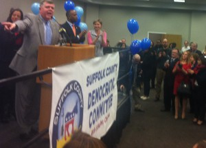 Suffolk Democratic Chairman Rich Schaffer addresses supporters in Hauppauge on Tuesday, Nov. 5, 2013.