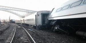 A Metro-North train derailed in the Bronx on Sunday morning.