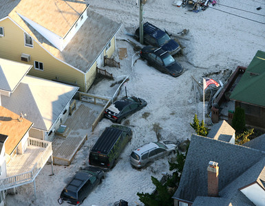 Much of the South Shore community of Long Beach was buried in sand and destroyed following the wrath of Superstorm Sandy Oct. 31, 2012. (Kevin Kane/Long Island Press)