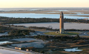 The Jones Beach traffic circle on Ocean Parkway looking north. The parkway opened between Meadowbrook and Wantagh parkways two weeks ago before the rest of Ocean Parkway reopened Monday. (Kevin Kane)