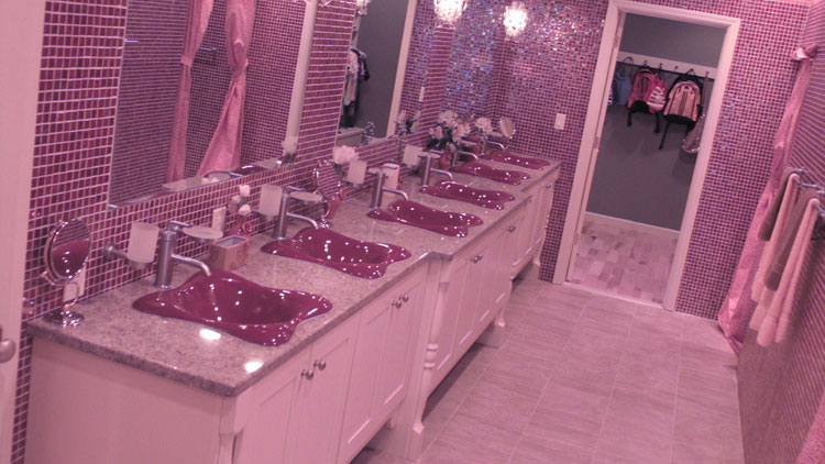 Alure Home Improvements renovated the Arena family's upstairs bathroom to include six sinks, one for each daughter.