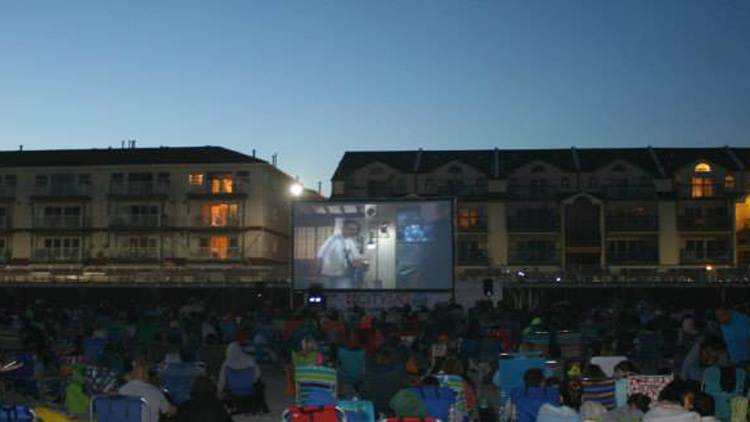 Moviegoers watch a flick on the sand at Long Beach this summer (Courtesy of City of Long Beach).