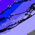 Snow accumulations forecast for Long Island on Wednesday predicted by the National Weather Service. (Source: NWS).