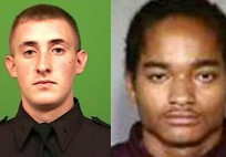 From left: NYPD Officer Brian Moore, of Long Island, and his alleged killer, Demetrius Blackwell.
