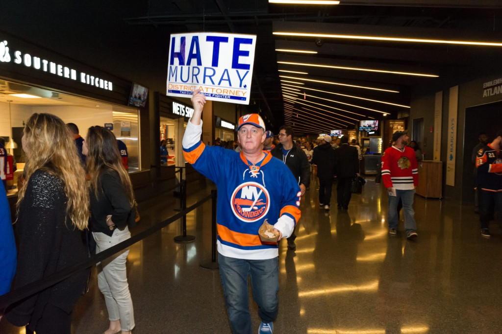 "An Islanders fan replaced the ""K"" with and ""H"" in Kate Murray's campaign sign. (Photo by Joseph Nuzzo)"