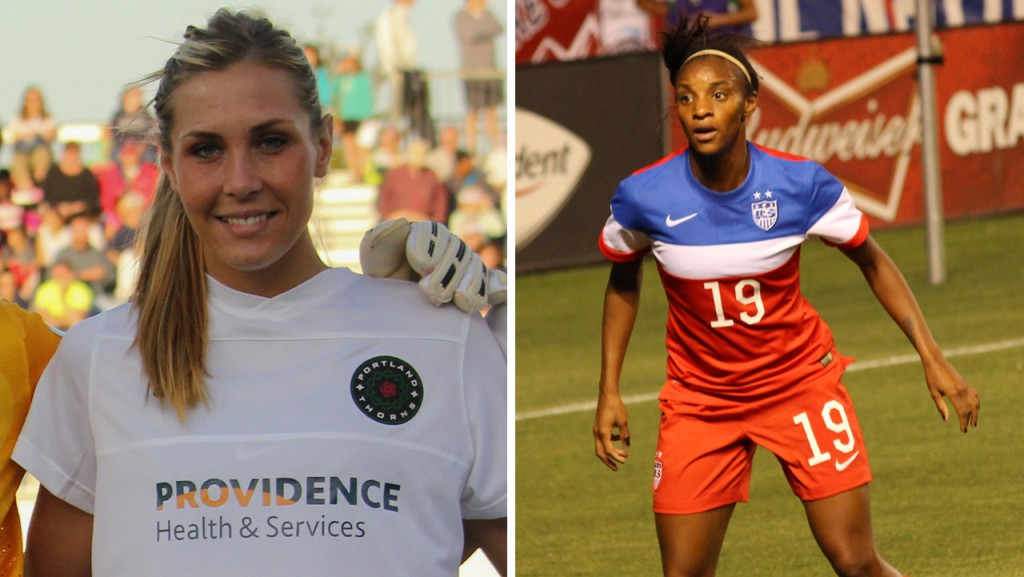 From left: US Women's National Team soccer players Allie Long and Crystal Dunn.
